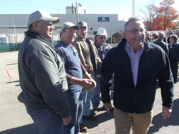 BAILEYVILLE, MAINE - 10/10/2014 - A beaming Gov. Paul LePage strides away after talking to union leaders at a ceremony to mark construction of new St. Croix Tissue plant at the Woodland Pulp mill in Baileyville. Tim Cox|BDN
